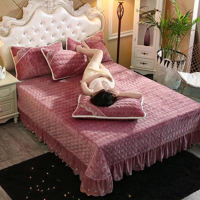 2019新款水晶绒微风采莲夹棉床盖三件套 1.8m(6英尺)床 豆沙色