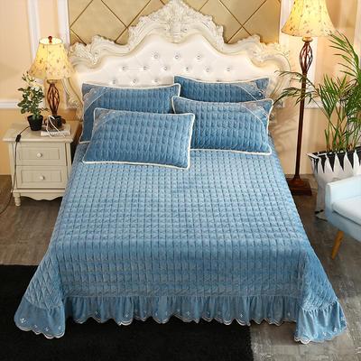2019新款水晶绒微风采莲夹棉床盖三件套 单品枕套/对 孔雀蓝