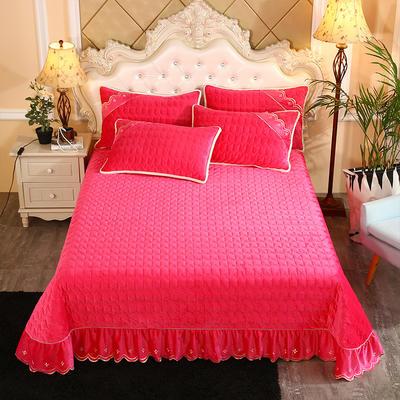 2019新款水晶绒微风采莲夹棉床盖三件套 单品枕套/对 玫红色