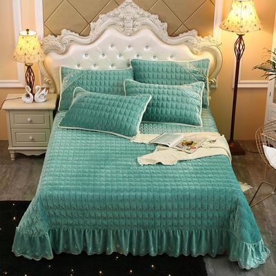 2019新款水晶绒微风采莲夹棉床盖三件套 1.5m(5英尺)床 墨绿色