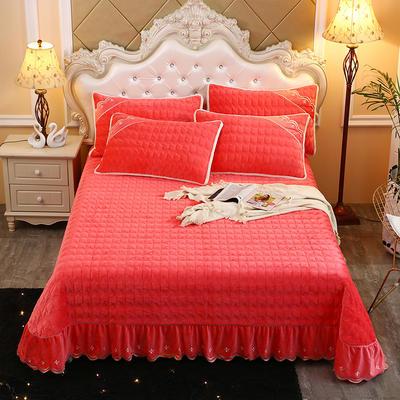 2019新款水晶绒微风采莲夹棉床盖三件套 单品枕套/对 砖红色