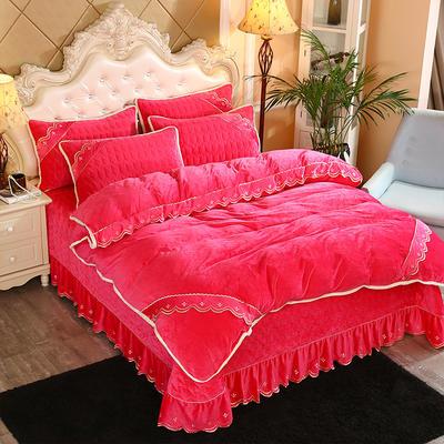 2019新款水晶绒微风采莲床盖式四件套 1.8m(6英尺)床 玫红色