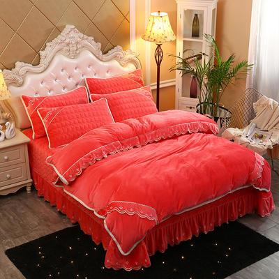 2019新款水晶绒微风采莲床盖式四件套 1.8m(6英尺)床 砖红色