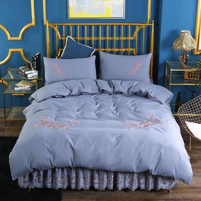 2019新款针织棉刺床裙四件套 1.5m-1.8m(床单1.5*2)四件套 灰色