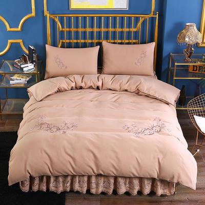 2019新款针织棉刺床裙四件套 1.5m-1.8m(床单1.5*2)四件套 驼色