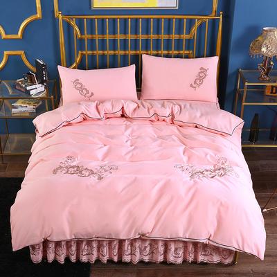 2019新款针织棉刺床裙四件套 1.5m-1.8m(床单1.5*2)四件套 玉色