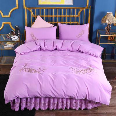 2019新款针织棉刺床裙四件套 1.5m-1.8m(床单1.5*2)四件套 紫色