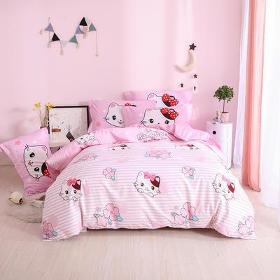 2019新款全棉猪猪侠+星猫四件套 1.2m床单款三件套 粉色樱花