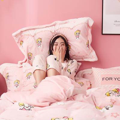 2019新款猪猪侠绒类四件套(风格2) 1.2m床单款三件套 朵朵菲菲