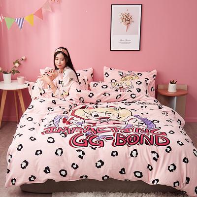 2019新款猪猪侠绒类四件套(风格2) 1.2m床单款三件套 俏趣菲菲