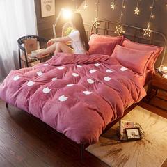 法莱绒贴布绣四件套 1.2m床 猫头-豆沙