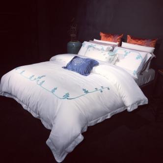 80皮马棉刺绣  梵 标准 梵 白蓝