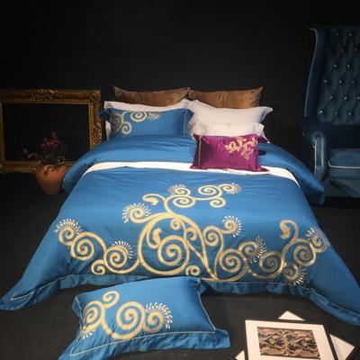 80皮马棉刺绣 克里斯 标准 克里斯 孔雀蓝