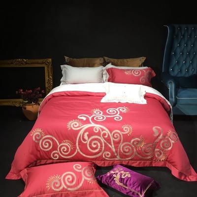 80皮马棉刺绣 克里斯 标准 克里斯 胭脂红