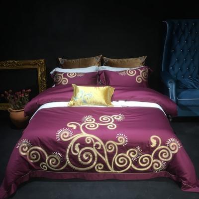 80皮马棉刺绣 克里斯 标准 克里斯 紫