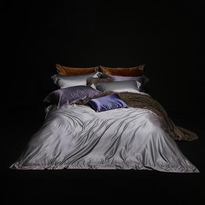 2018新版纯色真丝四件套 纯色真丝枕套(对) 灰