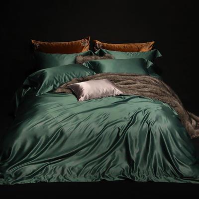 2018新版纯色真丝四件套 纯色真丝枕套(对) 墨绿