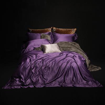 2018新版纯色真丝四件套 纯色真丝枕套(对) 深紫