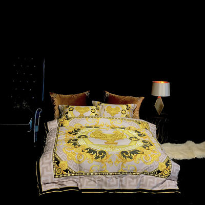 Spades A黑桃A概念家居2017秋冬新品 100支500T数码印花系列(新图) 1.5-1.8m(床) 洛可可  黑  (新图)