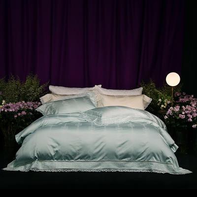 2018新款80新科技天丝棉提花系列四件套-巴黎假日 1.8m(6英尺)床 薄荷绿