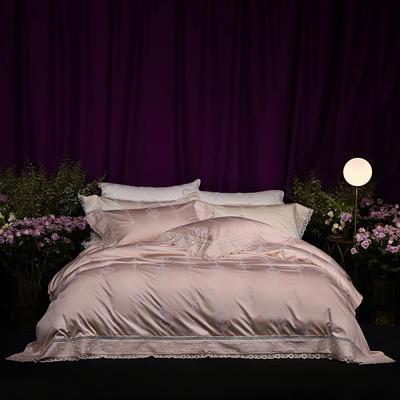 2018新款80新科技天丝棉提花系列四件套-巴黎假日 1.8m(6英尺)床 香槟玉