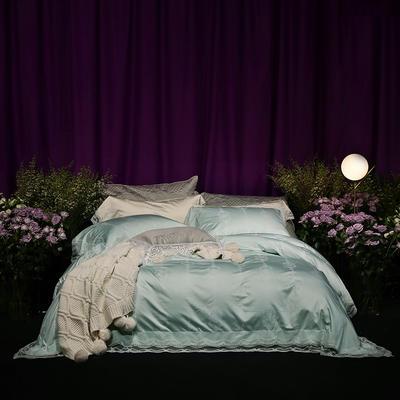 2018新款80新科技天丝棉提花系列四件套-香榭时光 1.8m(6英尺)床 薄荷绿