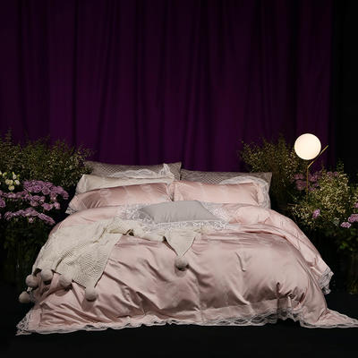 2018新款80新科技天丝棉提花系列四件套-香榭时光 1.8m(6英尺)床 香槟玉