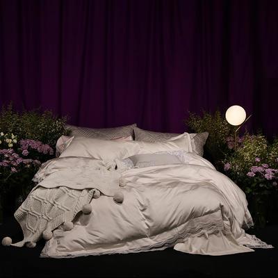 2018新款80新科技天丝棉提花系列四件套-香榭时光 1.8m(6英尺)床 香草米