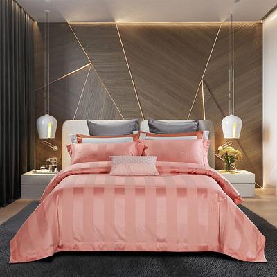 2018新款140支全棉提花系列~邦妮四件套 1.8m(6英尺)床 粉