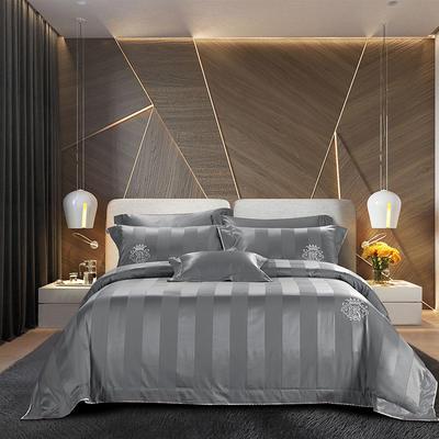 2018新款140支全棉提花系列~邦妮四件套 1.8m(6英尺)床 灰