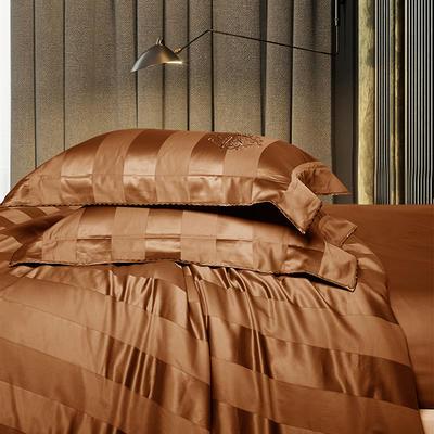 2018新款140支全棉提花系列~邦妮四件套 2.0m(6.6英尺)床 咖大靠垫60*80(含芯/对)