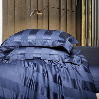 2018新款140支全棉提花系列~邦妮四件套 2.0m(6.6英尺)床 蓝大靠垫60*80(含芯/对)