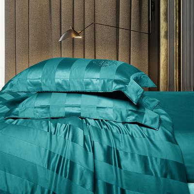 2018新款140支全棉提花系列~邦妮四件套 2.0m(6.6英尺)床 绿大靠垫60*80(含芯/对)