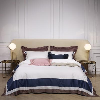 新款100支匹马棉拼色系列~辛迪四件套 1.5m(5英尺)床 辛迪 本白