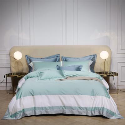 新款100支匹马棉拼色系列~辛迪四件套 1.5m(5英尺)床 辛迪 浅蓝