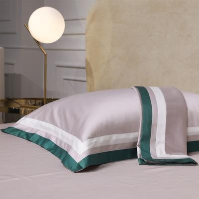 新款100支匹马棉拼色系列~辛迪四件套 1.5m(5英尺)床 可配大靠垫60*80(含芯/对)