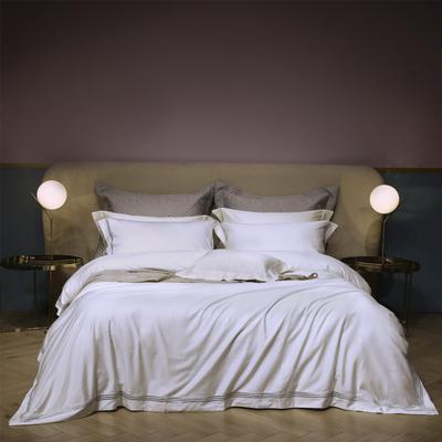 新款100支匹马棉刺绣系列~米娅 1.8m(6英尺)床 白
