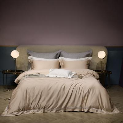 新款100支匹马棉刺绣系列~米娅 1.8m(6英尺)床 卡其