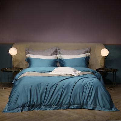 新款100支匹马棉刺绣系列~米娅 1.8m(6英尺)床 蓝