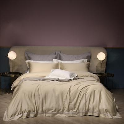 新款100支匹马棉刺绣系列~米娅 1.8m(6英尺)床 浅黄