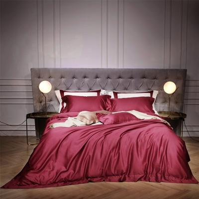 新款140支纯色四件套 1.5m(5英尺)床 乔治 酒红