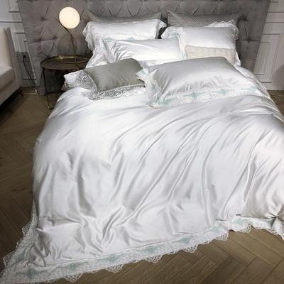 新款高精密花边系列四件套~简 1.5m(5英尺)床 简  白
