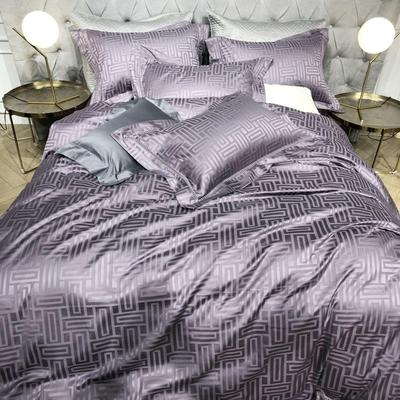2018新品黑桃140支全棉提花四件套 印象 大靠垫60*80  (含芯/对) 印象 紫