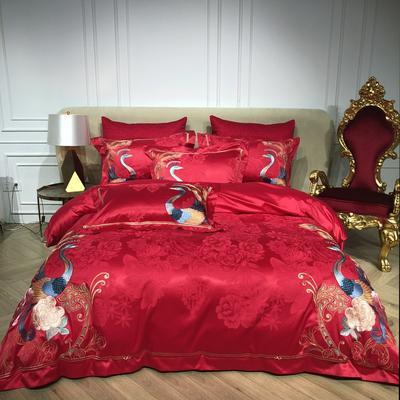 2018️Spades A 80支高级婚庆系列四件套 可配六件套红色绗缝大靠垫60*80 /对含芯 红妆