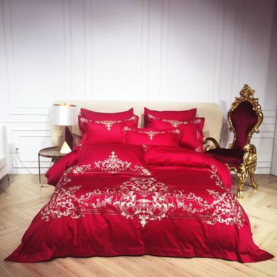 2018️Spades A 80支高级婚庆系列四件套 可配六件套红色绗缝大靠垫60*80 /对含芯 恋曲