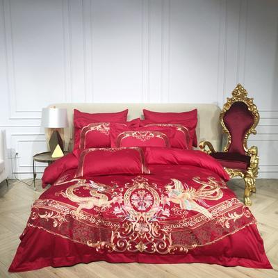 2018️Spades A 80支高级婚庆系列四件套 可配六件套红色绗缝大靠垫60*80 /对含芯 龙凤