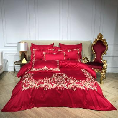 2018️Spades A 100支高级婚庆系列四件套-红妆 1.8m(6英尺)床 醉美