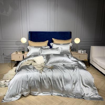 新品-高精密提花四件套 1.5m(5英尺)床 羽翼 灰