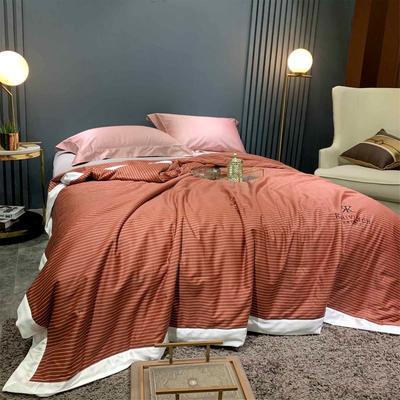 2019新款天丝棉夏被 200X230cm 条纹 桔