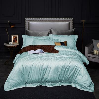 新款高级定制系列-100支全棉提花四件套 1.5m床单款四件套 艾琳 浅蓝